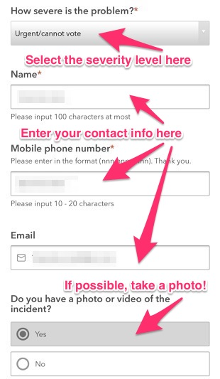 Select the problem severity, enter your contact info