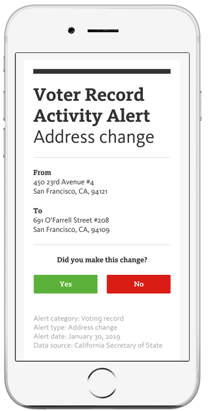 VoteReady Voter Record Activty Alert: Address change